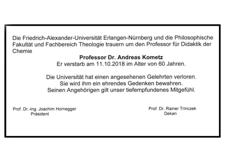 Traueranzeige Prof. Dr. Kometz